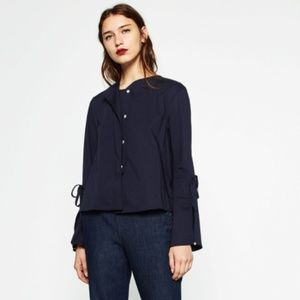 NEW Zara Navy Poplin Button Down Tie Sleeve Top